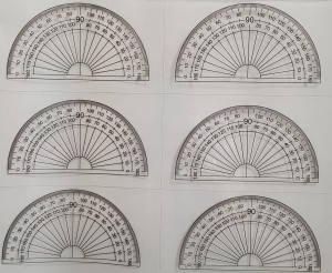 A4 Sheet of 6 protractors 180 deg
